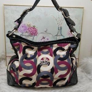 Coach signature patent leather trim fabric handbag